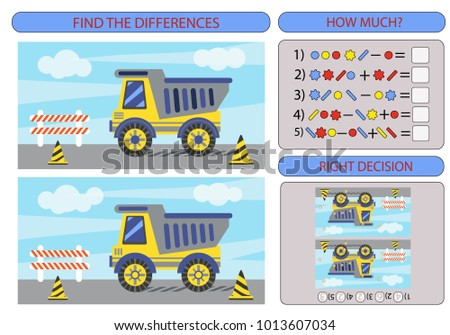 Find the difference the two Lorry. Children funny riddle entertainment. Sheet different toys construction equipment. Game tasks for attention. Mathematical exercise. Vector illustration.