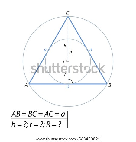 Find the height, as well as the radii of the inscribed and circumscribed circles of an equilateral triangle with sides equal to a.