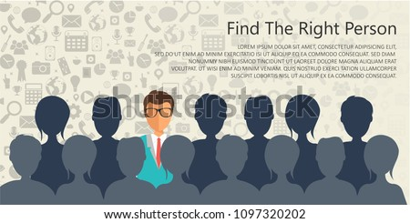 Find the right person for the job concept. Hiring and recruiting new employees. Flat vector design