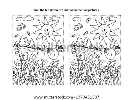 Find the ten differences picture puzzle and coloring page with sun, snail, butterflies and wildflowers Сток-фото ©