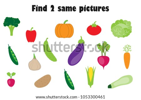 Find two identical pictures, fun education game with vegetables in cartoon style for children, preschool worksheet activity for kids, task for the development of logical thinking, vector illustration #1053300461
