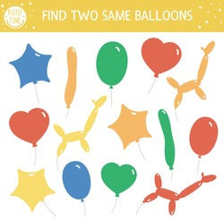 Find two same balloons. Holiday matching activity for children. Funny educational Birthday party logical quiz worksheet for kids. Simple printable celebration game with cute objects