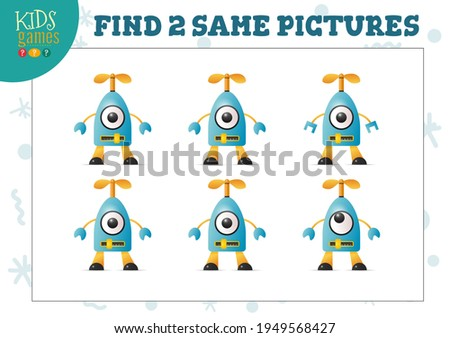 Find two same pictures kids game vector illustration. Activity for preschool children with matching objects and finding 2 identical. Cartoon robot character