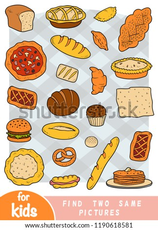 Find two the same pictures, education game for children. Color set of bakery products