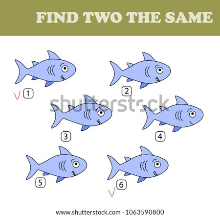 Find two the same pictures, education game for children. Kids activity sheet. Vector color set of sharks.