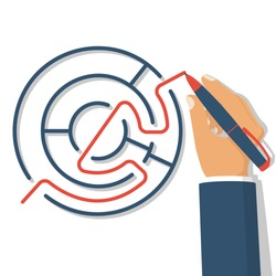 Find way out. Exit from circle labyrinth. Man with pen leads line from maze. Vector illustration flat design. Isolated on white background. Successful solution confusing business. Solution problem.