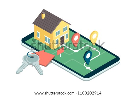 Find your dream home: model house on a map, house keys and icons, real estate mobile app
