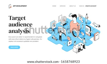 Finding and analyzing the target audience in the app development process. Gathering user's data & market research. Isometric outline spot illustration for landing page, web or printed materials