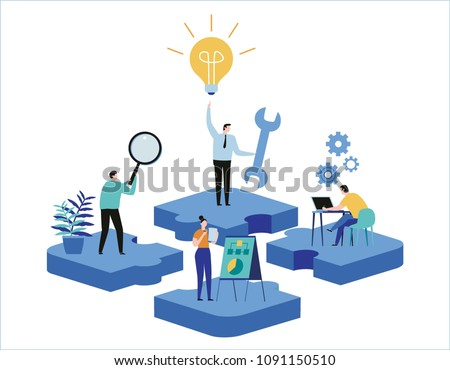 Finding new ideas. problem solving. Vector illustration banner.