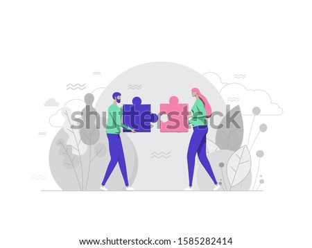Finding solution, problem solving. Teamwork and partnership. Working team collaboration, enterprise cooperation, colleagues mutual assistance concept. Cartoon Flat Vector Illustration