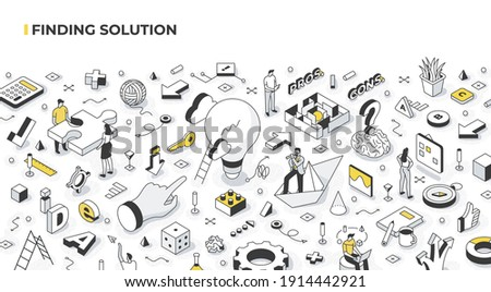 Finding solutions and logical thinking concept. People solving problems and making decisions. Success and strategic thinking in business. Abstract isometric vector illustration