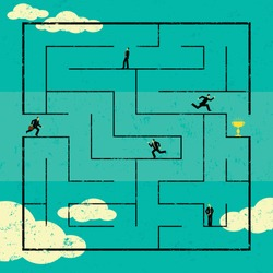 Finding the Path to Success Businessmen navigating a path to success through a maze. The men are on a separate labeled layer from the background.