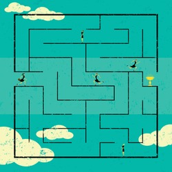 Finding the Path to Success Businesswomen navigating a path to success through a maze. The women are on a separate labeled layer from the background.