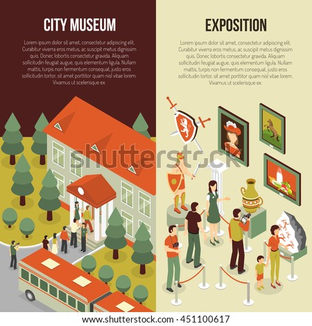 Fine art museum gallery painting exhibition 2 isometric vertical banners set with visitors abstract isolated vector illustration