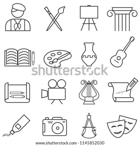 Fine arts, painting, music web line icon set