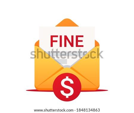 Fine by mail, vector icon. Punishment document in envelope. Vector symbol of fine or penalty