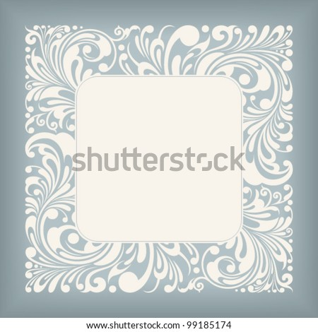 fine floral square frame, vector illustration