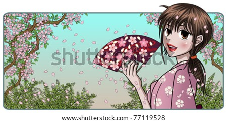 fine japanese lady holding fan