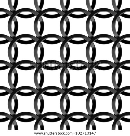 Fine seamless pattern with black glossy rings. (vector)