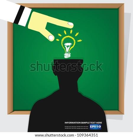 Finger andlight bulb on blackboard background,Vector