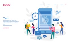 Finger Authentication, Fingerprint screening security system,  fraud detection, Biometric access control, Vector illustration for web banner, infographics, mobile website. Landing page template.