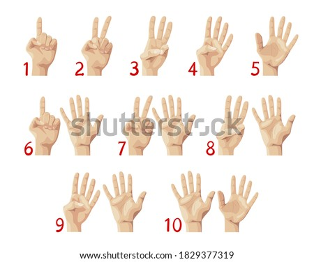 Finger Count, Hand Showing Numbers from One to Ten. Education, Palm Gestures and Countdown Concept. Preschool or School Mathematics Lesson for Children. Cartoon Vector Illustration, Isolated Icons Set stock photo