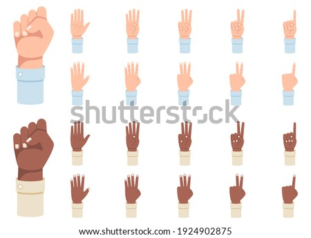 Finger counting. A set of hands with counts on the fingers from one to five vector illustration.