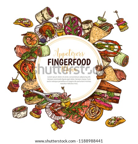 Finger food background with label, poster, design for restaurant, cafe. Snacks, appetizers, mini canapes, sandwiches, seafood, hamburger, rolls. Vector illustration, colorful hand drawn sketch
