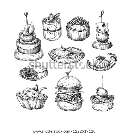 Finger food vector drawings. Food appetizer and snack sketch. Canapes, bruschetta, sandwich for buffet, restaurant, catering service. Tapas engraved illustration. Great for banner, poster, label