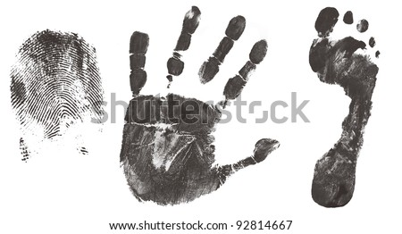Finger, hand and feet print isolated on white, vector illustration