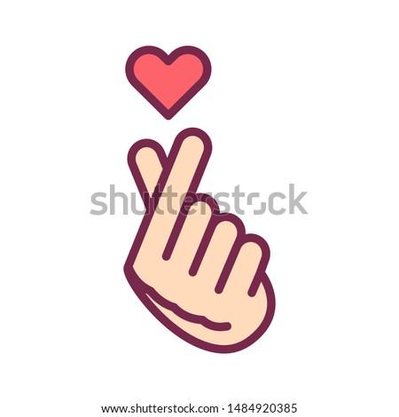 finger heart line color icon
