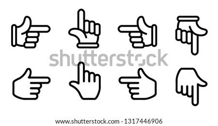 finger pointer / finger arrow icon set