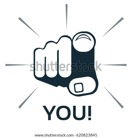 Finger pointing at you - vector