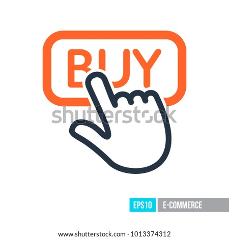 Finger pointing to buy sign icon. E-commerce sign. Graph symbol for your web site design, logo, app, UI. Vector illustration, EPS10.