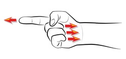 Finger-pointing - When you point one finger, there are three fingers pointing back to you. Isolated vector illustration on white background.