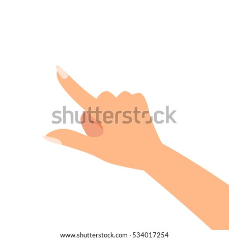 Finger pointing woman hand vector illustration
