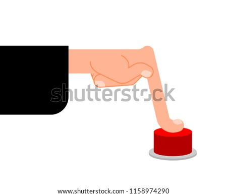 Finger presses Red button.  Hand Press  Vector illustration