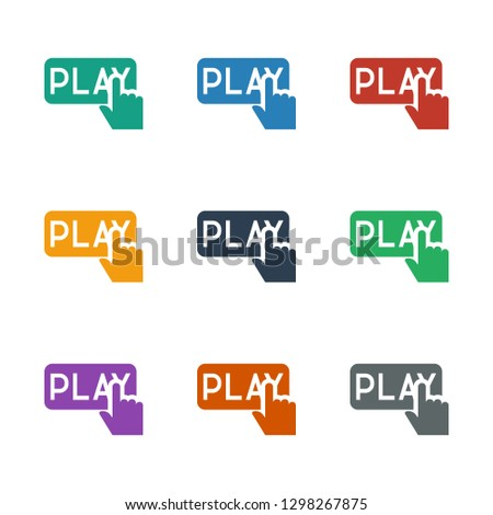 Finger pressing play button icon white background. Editable filled Finger pressing play button icon from casino. Trendy Finger pressing play button icon for web and mobile.