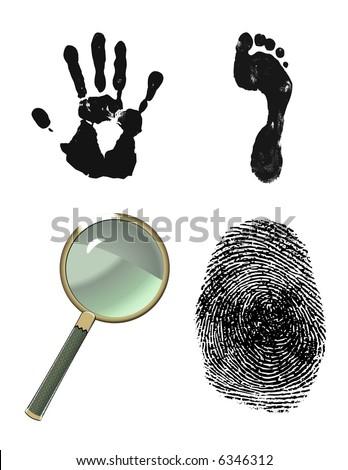 Finger print, hand print, foot print. Crime scene investigation.