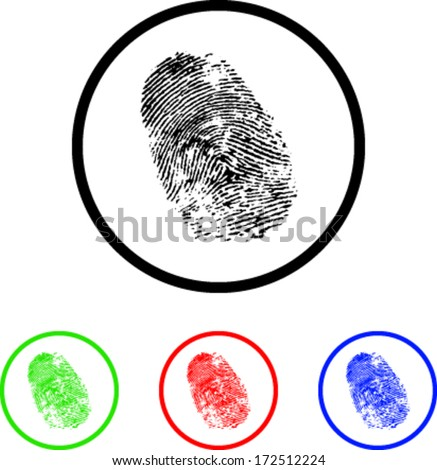 Finger Print Icon Illustration with Four Color Variations