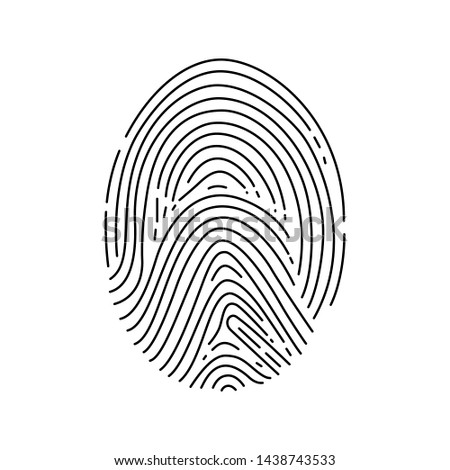 Finger print icon made in an outline style isolated on a white background. Identification sign. Vector design template.