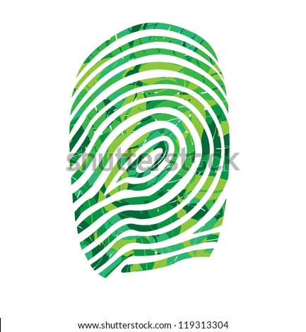 finger print in leaves vector illustration