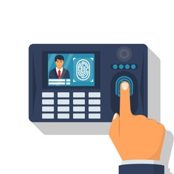 Finger print scan. Authorization in security system. Human hand scanning finger. Access control. Vector illustration flat design. Isolated on white background. Identification of person.