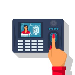 Finger print scan. Authorization in security system. Woman hand scanning finger. Access control. Vector illustration flat design. Isolated on white background. Identification of person.