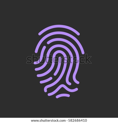 Finger print vector icon, identity concept vector illustration isolated on black background. Flat web design element for website or app.