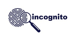 Finger print with magnifying glass vector simple logo or icon, incognito man concept, unidentified person, people search, biometric identification.