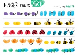 Finger prints art. The step-by-step instruction teaches your kids how to make cute insects. Collection in vector. Insects. Part 3.