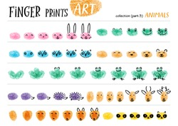 Finger prints art. The step-by-step instruction teaches your kids how to make different forest animals. Collection in vector. Animals. Part 3.