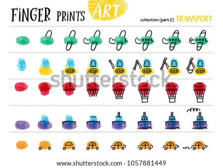 Shutterstock Finger prints art. The step-by-step instruction teaches your kids how to make different modes of transport. Collection in vector. Transport. Part 2.