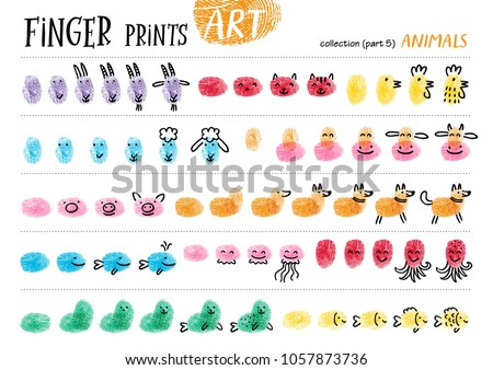 Shutterstock Finger prints art. The step-by-step instruction teaches your kids how to make farm and sea animals. Collection in vector. Animals. Part 5.